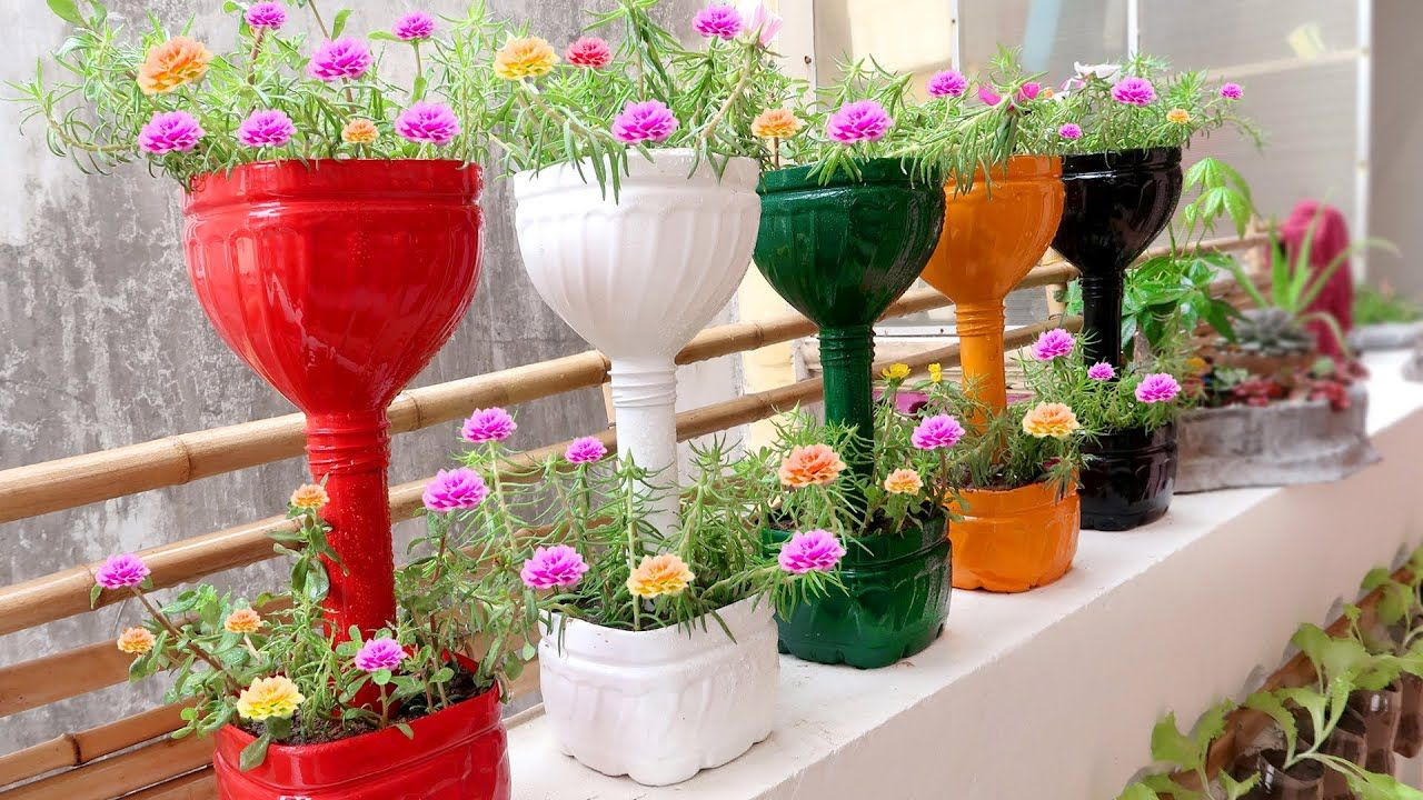 Recycle Plastic Bottles Into Colorful Flower Pots For Small Garden