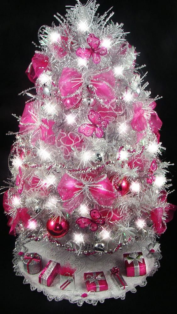 Tabletop Christmas Tree Hot Pink Fuchsia Erfly