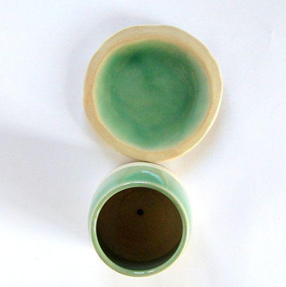 Green plant pot ceramic succulent pot cactus pot por PotsbyNives