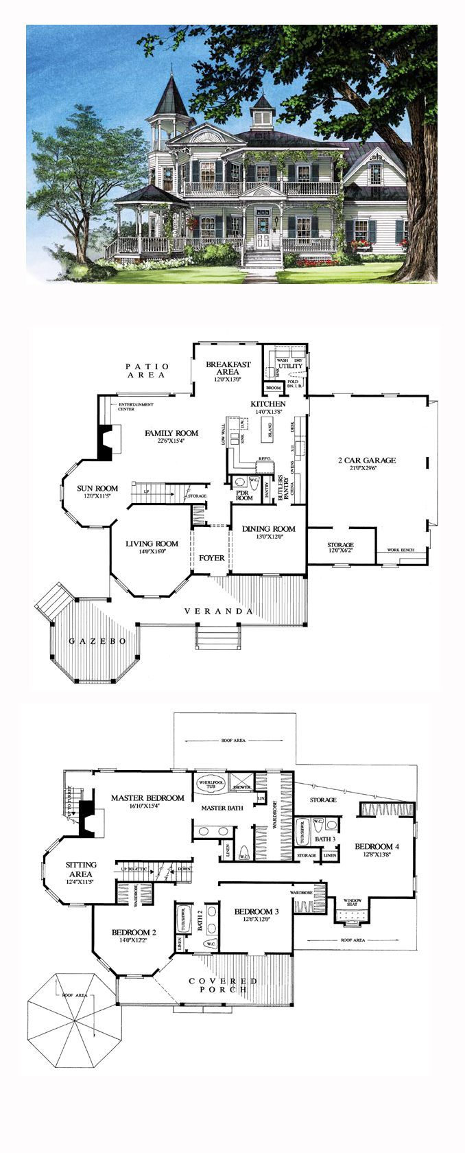 Victorian Style House Plan with 4 Bed 4 Bath 2 Car Garage