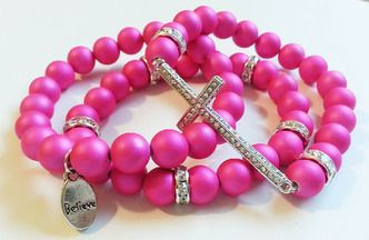 BELIEVE IN ME INSPIRATIONAL 3PC STRETCH BRACELET SET (4 COLOR CHOICES) - N'Genious Creations