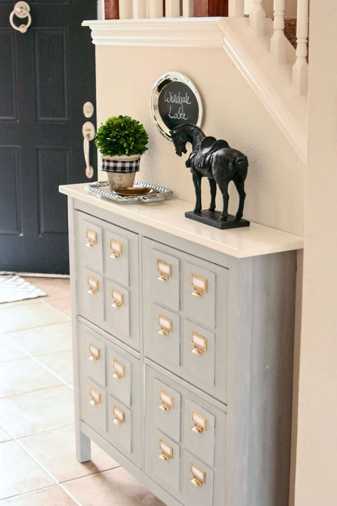 Solves My Shoe Problem For The Front Door AND My Lusting After A Library  Card Catalog. Faux Card Catalog Created From An IKEA Shoe Storage Cabinet!
