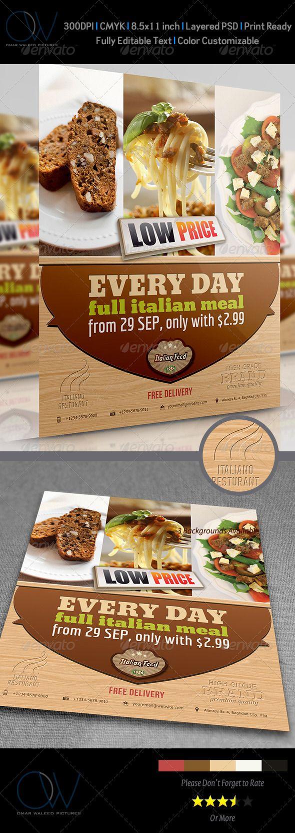 Italian Restaurant Flyer  Restaurants Brochures And Layout Design