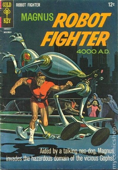 """Magnus Robot Fighter (1963 Gold Key) #16 Russ Manning art for """"Cloud-Cloddie, Go Home!"""" Plus more Manning art for Aliens story """"Rescue!"""" Painted front cover. # on cover 10046-611 November #16 11/66"""