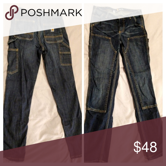 86837875 NEW Carhartt Women's Work Pants *Brand New* Slim-Fit Layton Double-Front Straight  Leg Jean Worn once inside, decided I didn't like the fit on me.