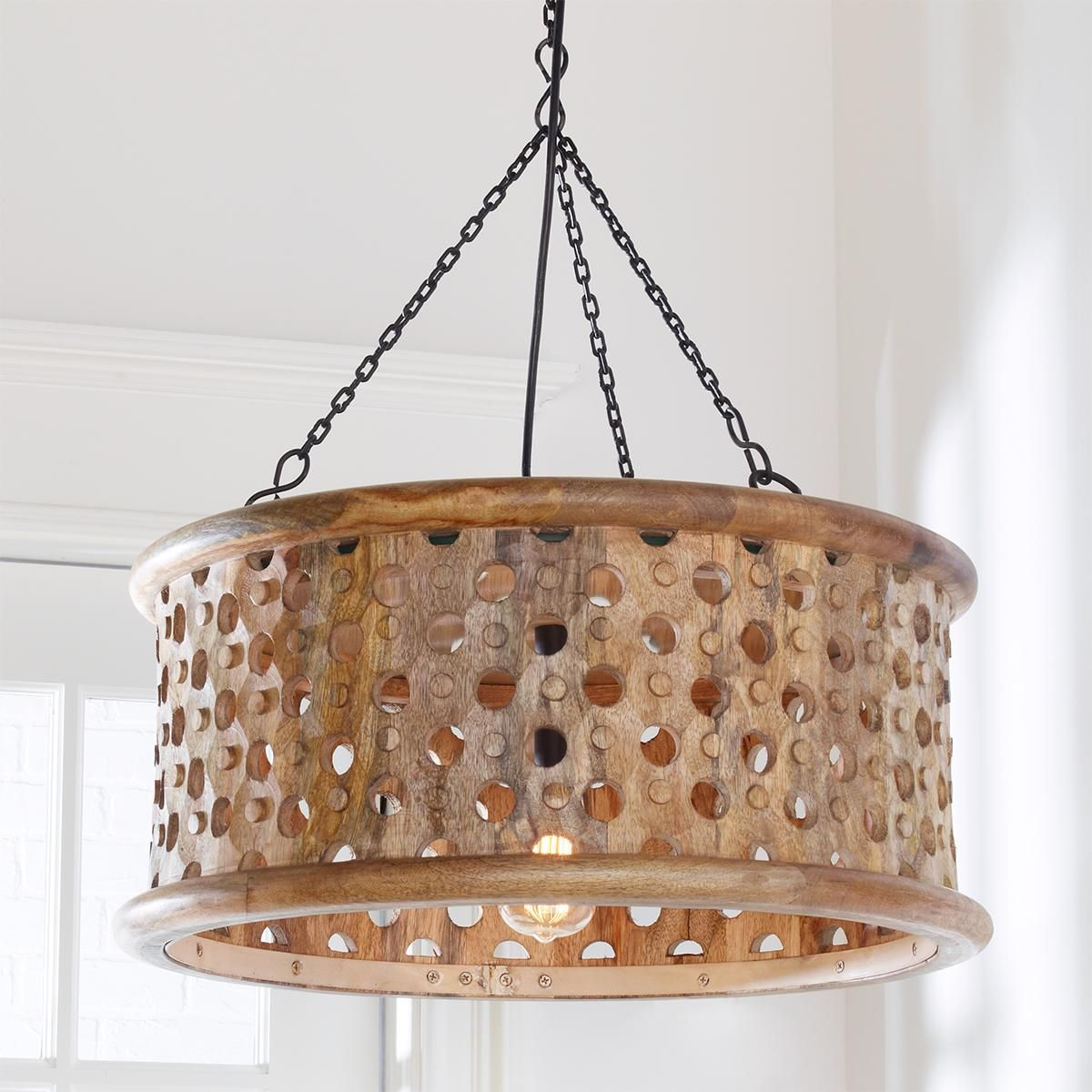 Carved Wood Drum Shade Pendant Wood Pendant Light Oversized