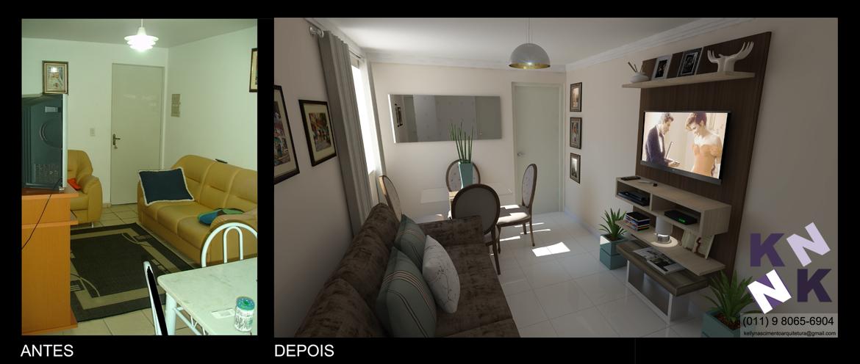 Reforma rápida em Apartamento  Buscando trazer a luminosidade aos ambientes, optamos por pisos cerâmicos em tonalidade clara. Além de luz, a reforma trouxe mais amplitude ao local. Um ambiente aconchegante e fresquinho.  Com estudo de layout podemos deixar um ambiente pequeno mais espaçoso.   Esta sala tem 2,65mx4,21m  https://www.facebook.com/designbykellynascimento