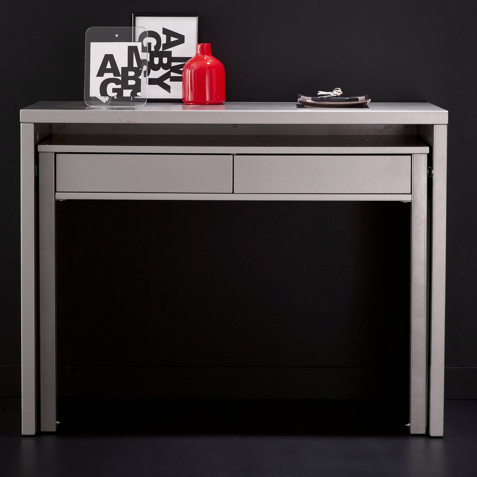 bureau console 2 tiroirs 3 suisses dimensions. Black Bedroom Furniture Sets. Home Design Ideas