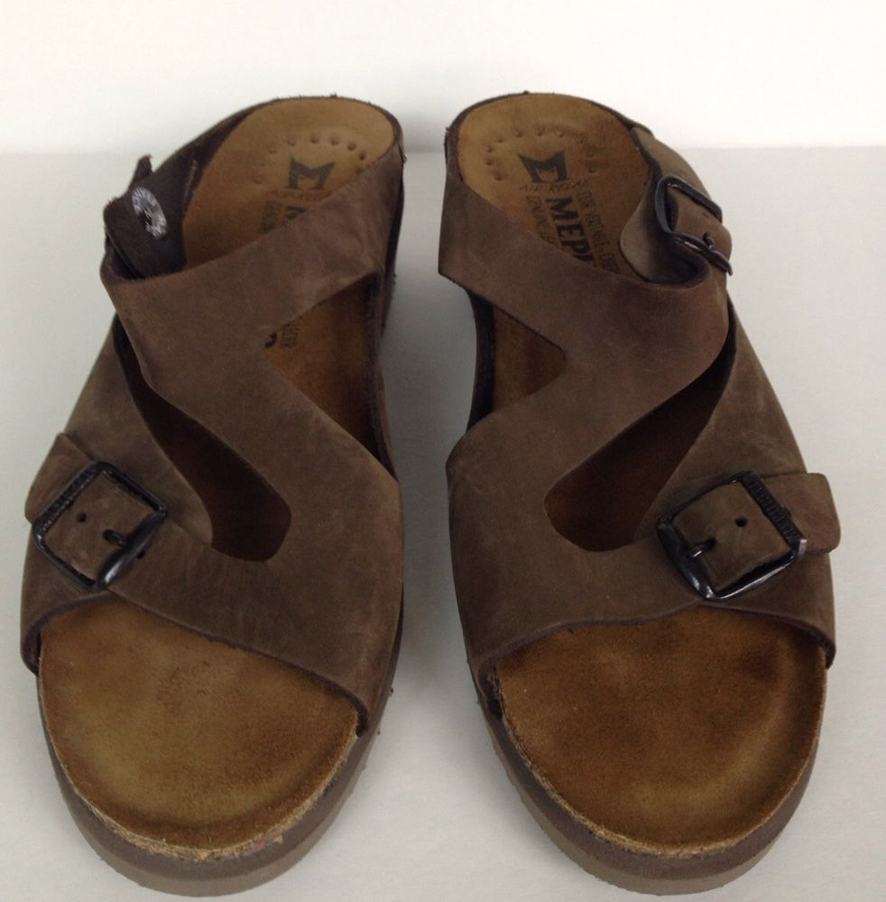 791b28939d75 Woman s Mephisto Brown Leather Dual Buckle Sandals Womens EUR 41