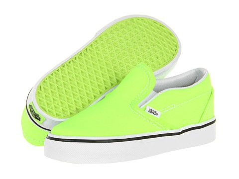76bf7ed283 Vans Kids Classic Slip-On (Infant Toddler) (Neon) Green - Zappos.com Free  Shipping BOTH Ways