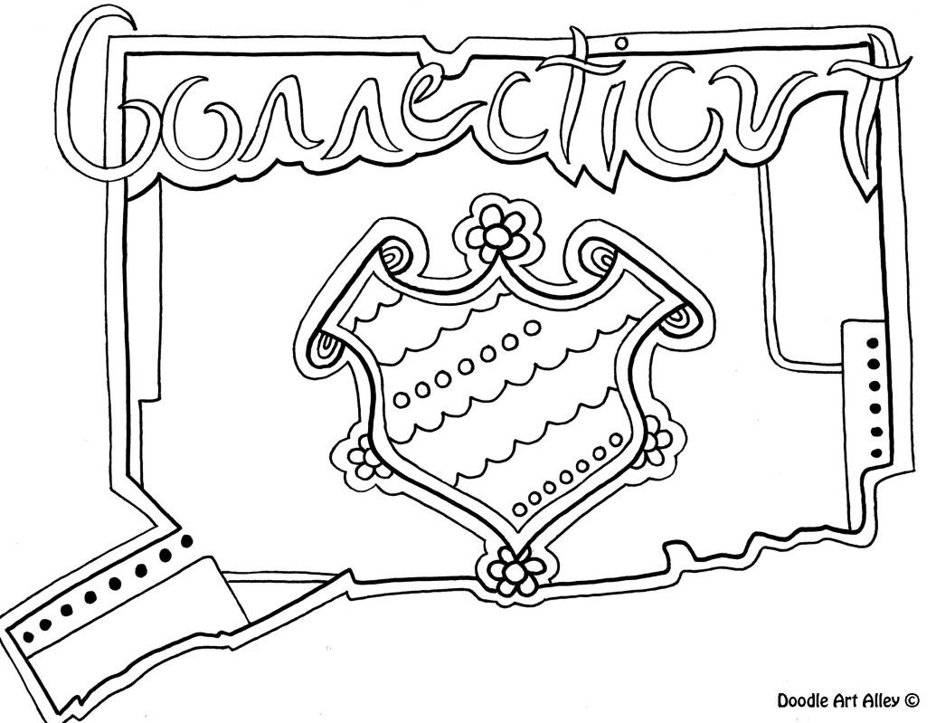 Connecticut Coloring Page By Doodle Art Alley Flag Coloring