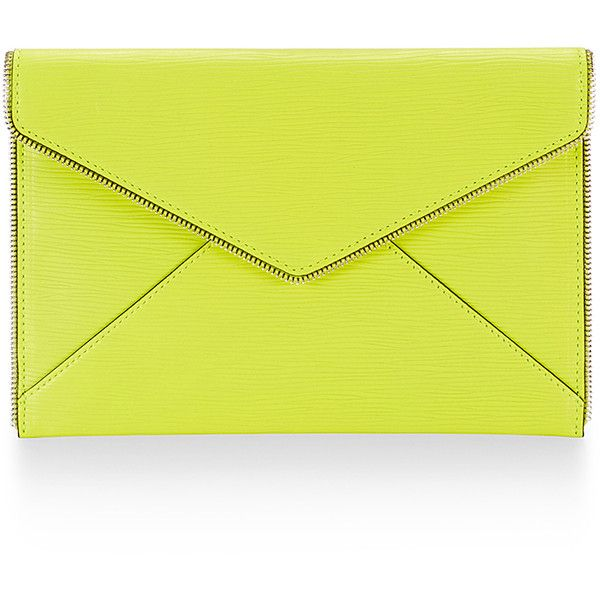 Rebecca Minkoff Leo Clutch ($48) ❤ liked on Polyvore featuring bags, handbags, clutches, bolsos, party purse, rebecca minkoff purse, party clutches, yellow handbag and rebecca minkoff
