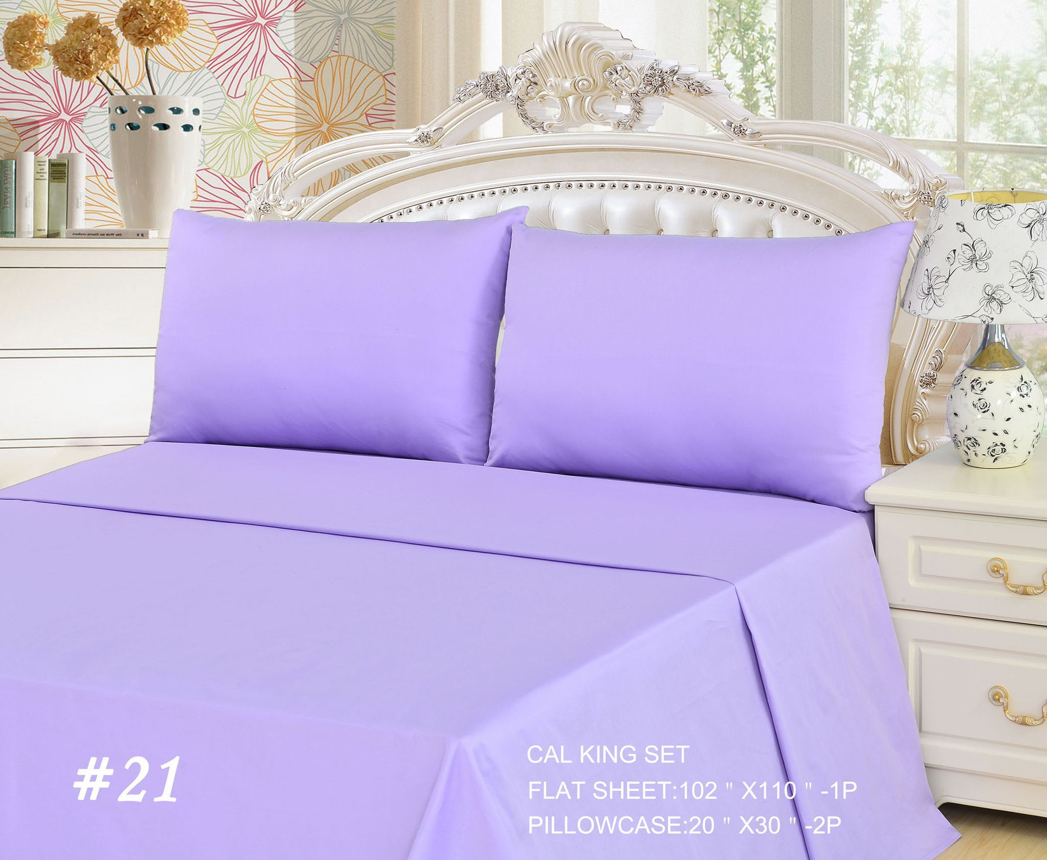 Exceptional Tache 3 Piece Lavender Dreams Light Purple Bed Sheet Set (California King)  (Flat
