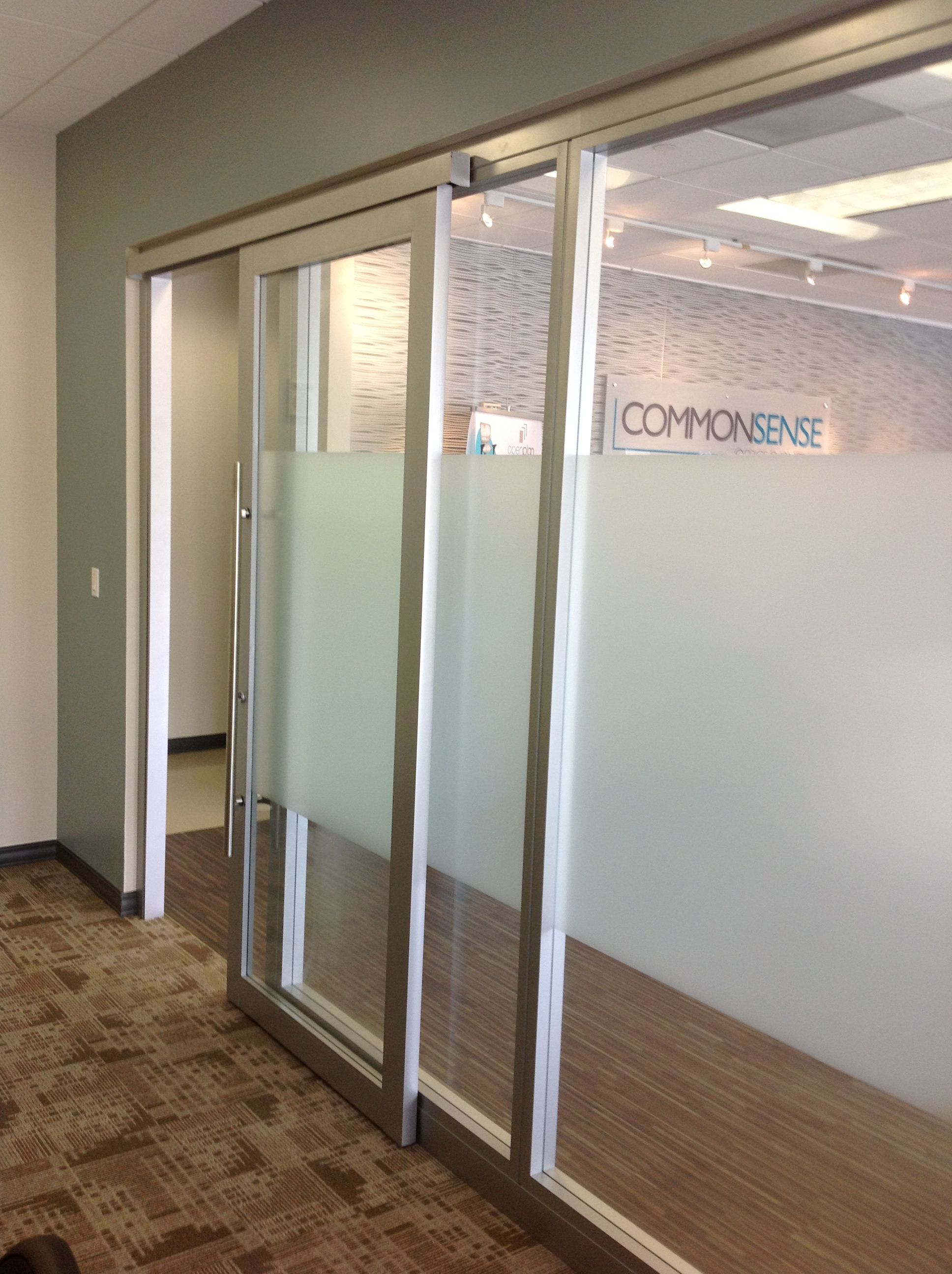 Glass office walls with sliding door by nello nello wall for Door in the wall