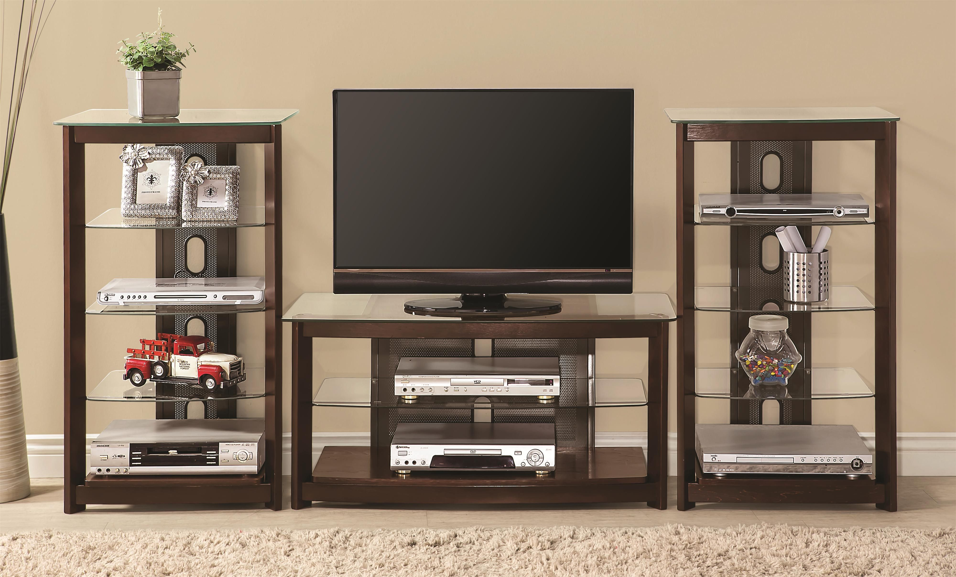 Contemporary Brown Wood Entertainment Wall Unit | Modern ...