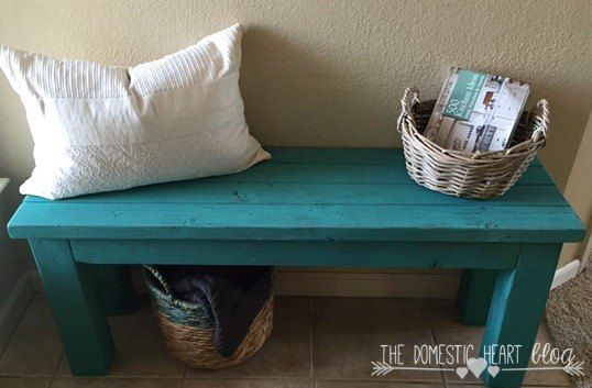 Diy Turquoise Entry Bench In 2019 Entry Bench Crate