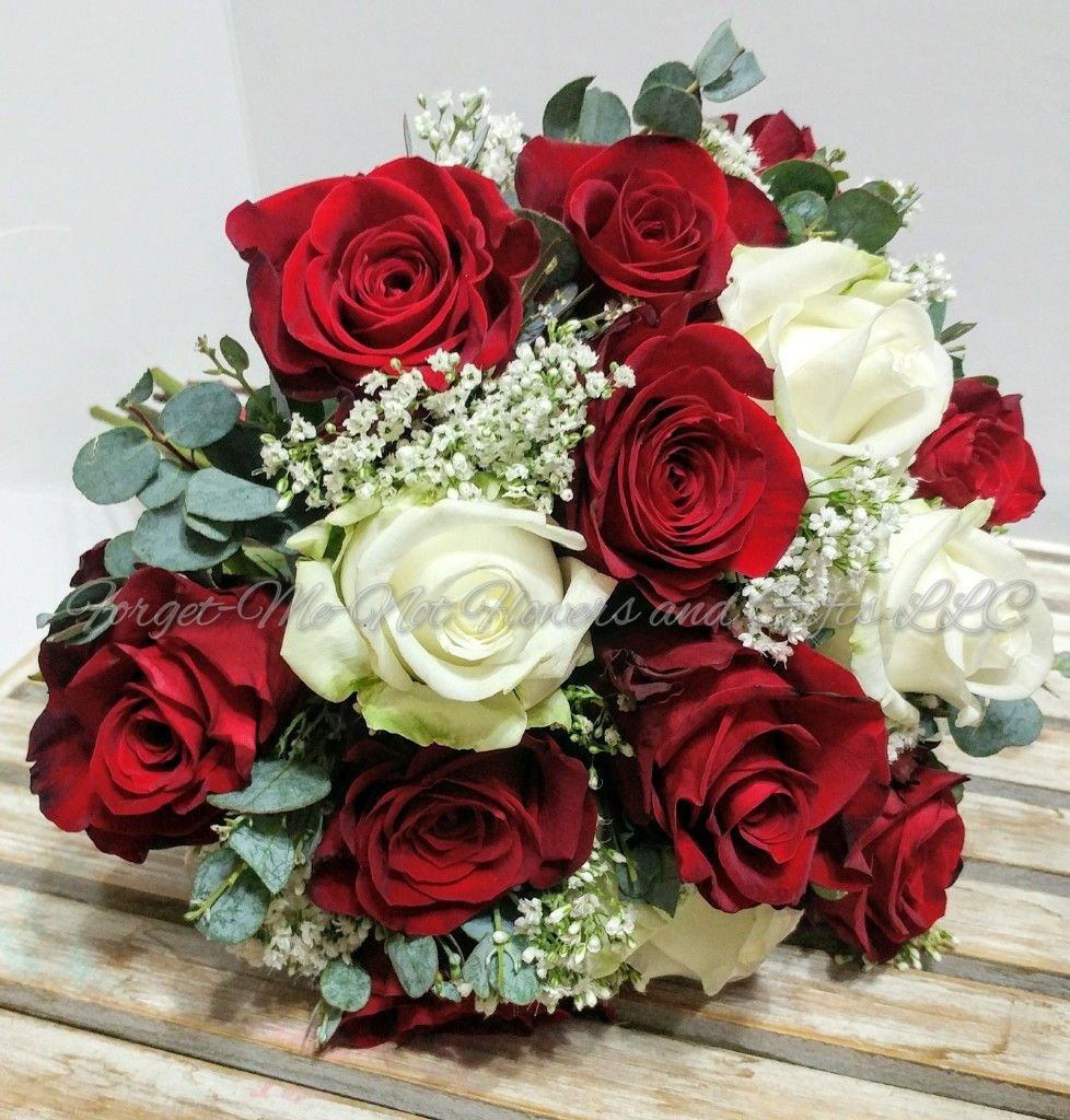 Wedding bouquets red and white roses  Red and white rose wedding bouquet by ForgetMeNot Flowers and