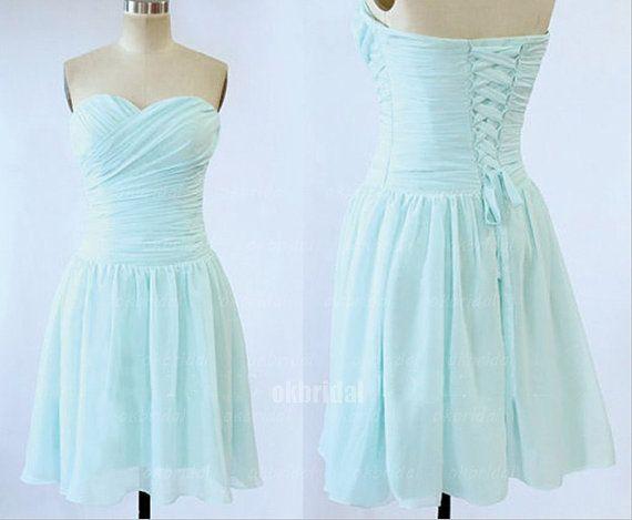 Blue Bridesmaid Dresses, Simple Bri | Custom make, Mint bridesmaid ...
