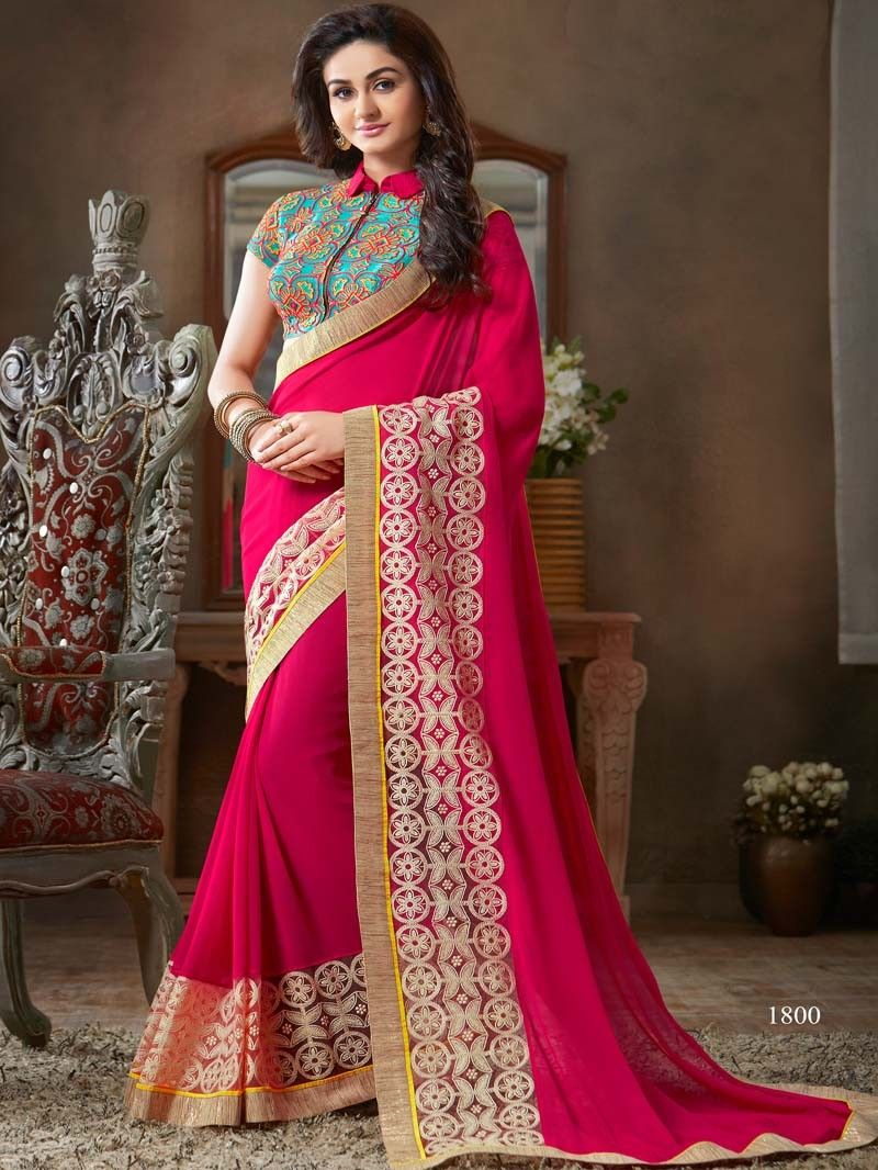4b770a7f7cffa Pink Color Embroidered Designer Saree Blouse