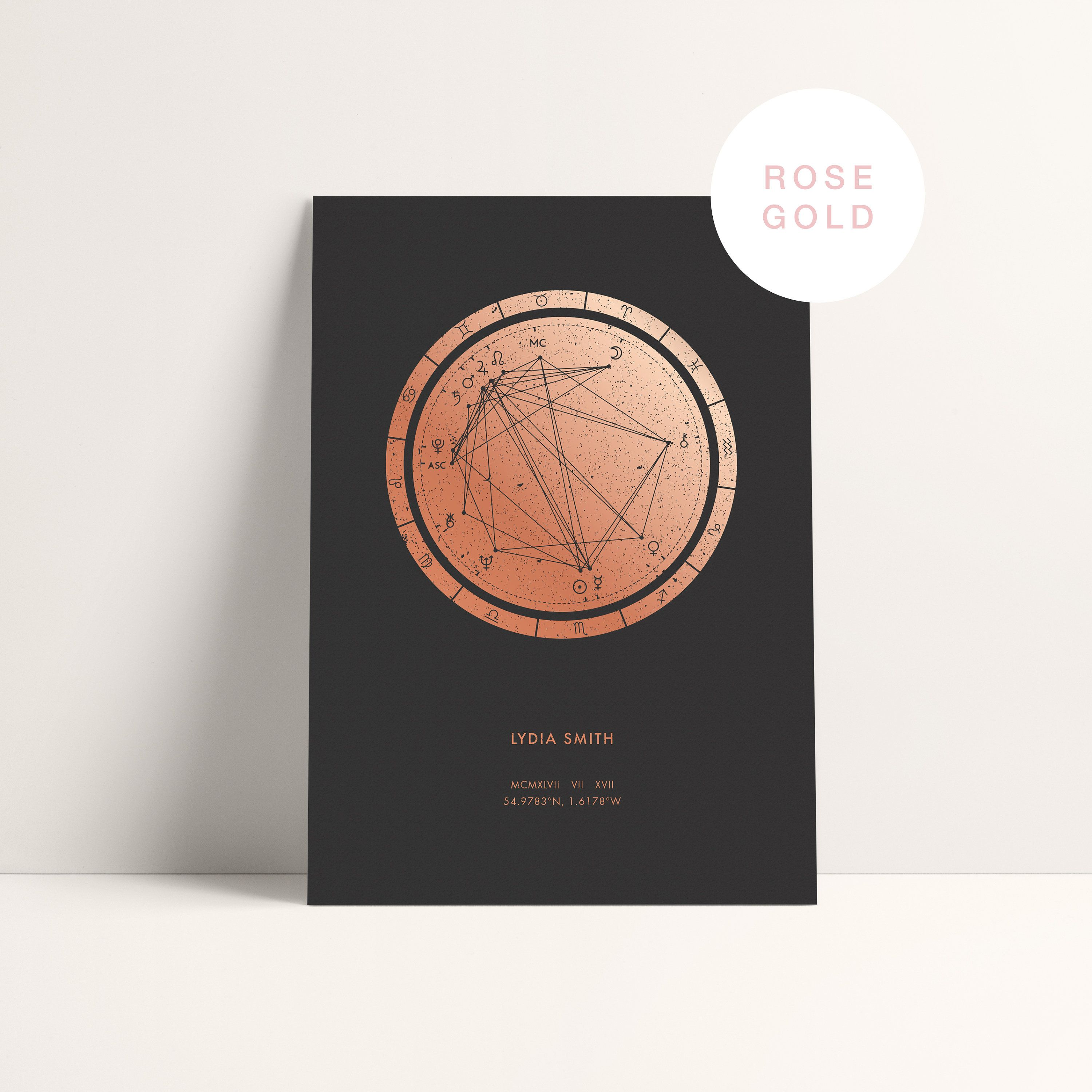 Metallic Foil Astrology Chart Print by Birth Date   Etsy in 20 ...