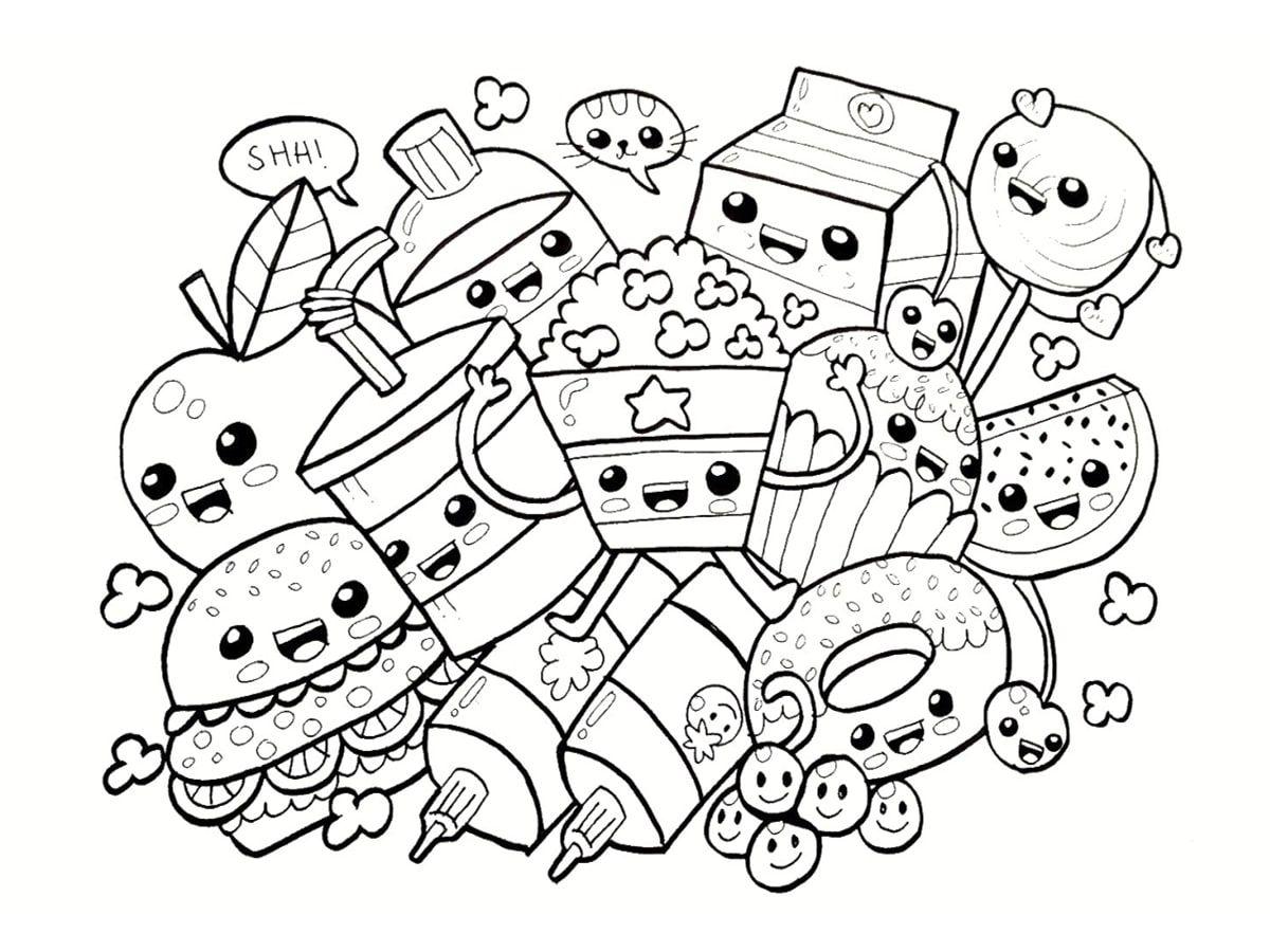 Coloriage Kawaii Nourriture 15 Dessins A Imprimer En 2020 Coloriage Kawaii Dessin Kawaii A Imprimer Dessin Kawaii A Colorier