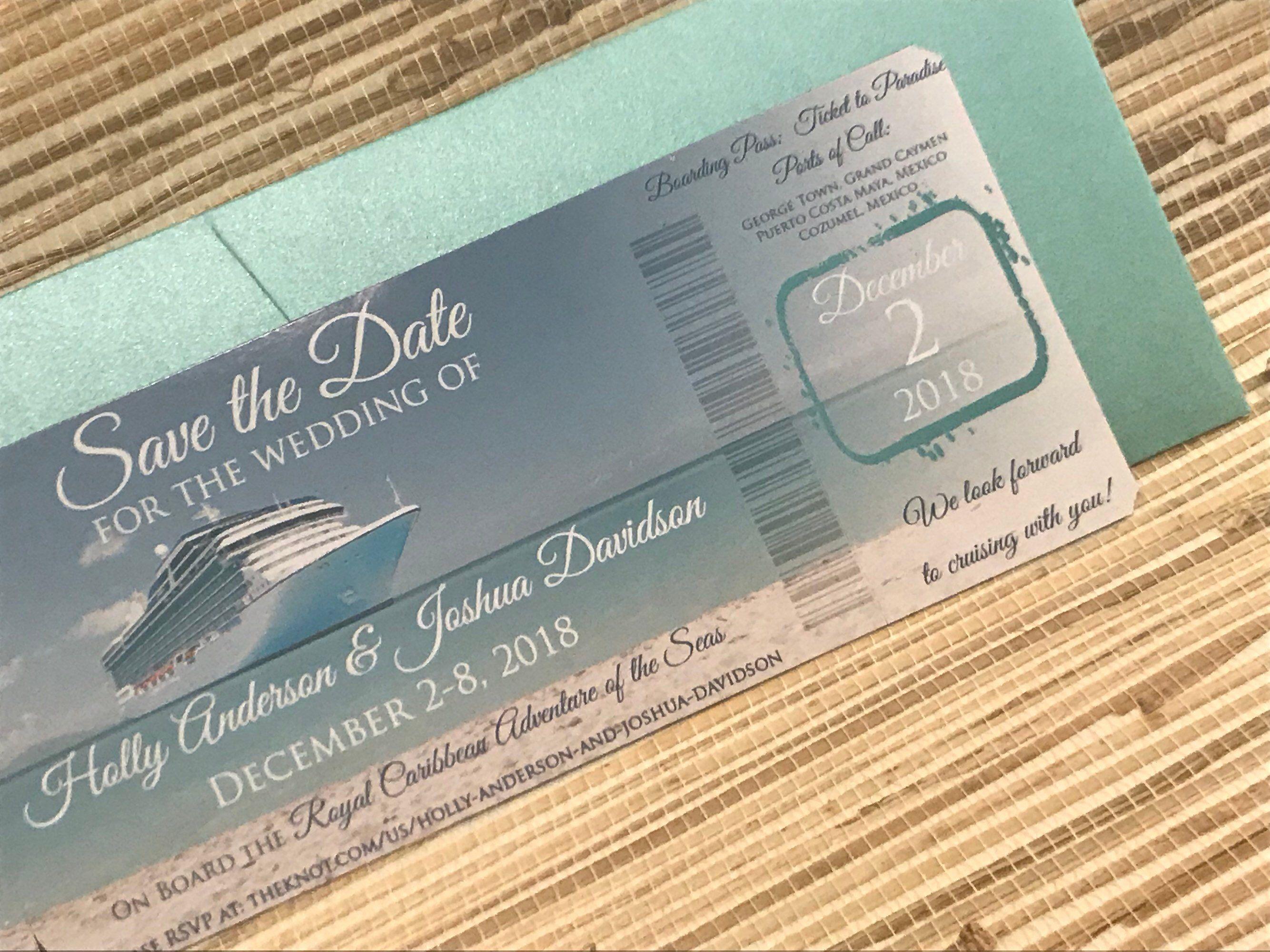 Boarding Pass Save the Date. Destination Wedding