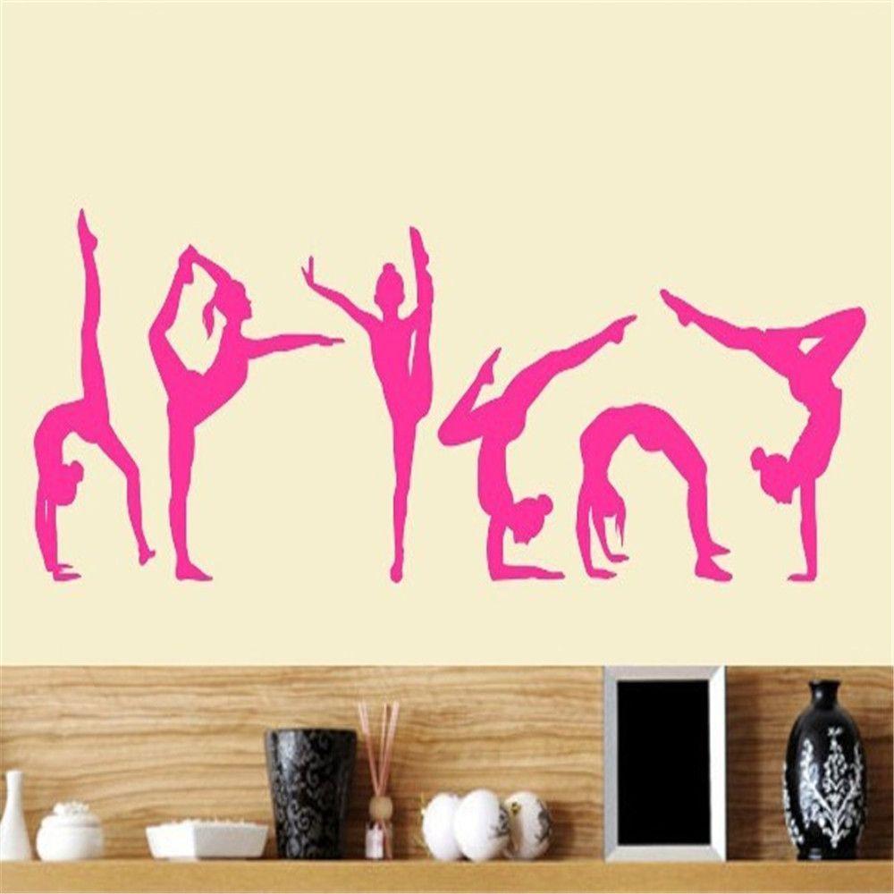 Six dance girls gymnastics wall sticker sport vinyl art wall mural