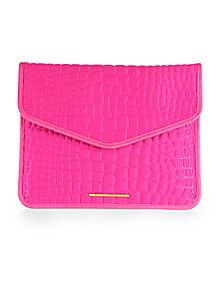 8fbb1c4b63ea Leather · Marc by Marc Jacobs - Leather-Trimmed Embossed Neoprene Tablet  Envelope Clutch