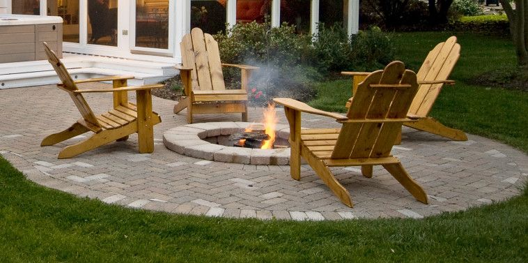 Exterior Rounded In Ground Fire Pit Which Combined With Lacquered