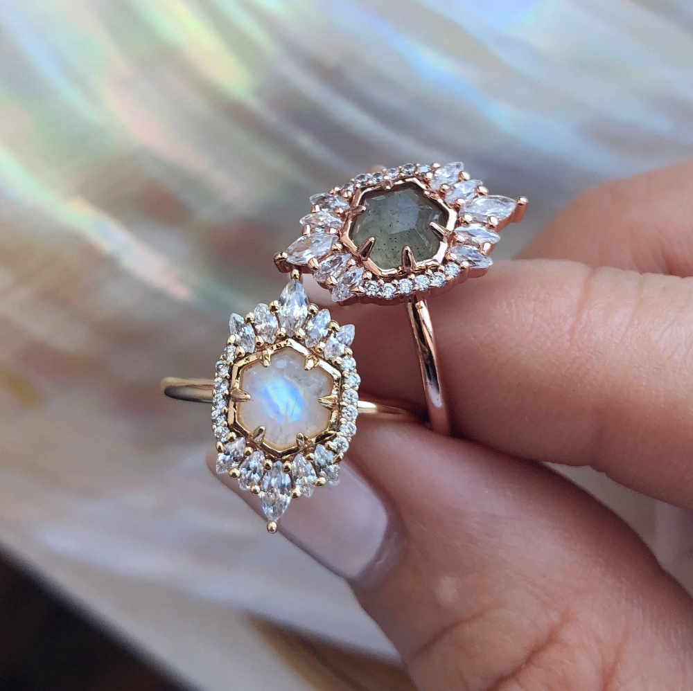 local eclectic Moonstone Medina Vintage Gold Statement
