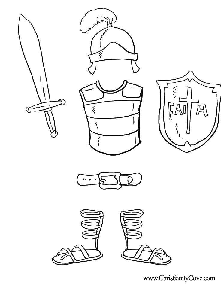Title Coloring Knight S Armor Category Coloring Pages Tags Shield Sword Belt Helmet Sunday School Coloring Pages Bible Coloring Bible Coloring Pages