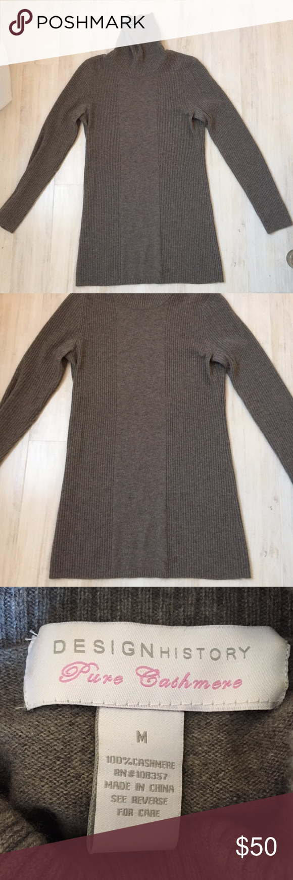 Design History Cashmere Long Cableknit Sweater M Design ...