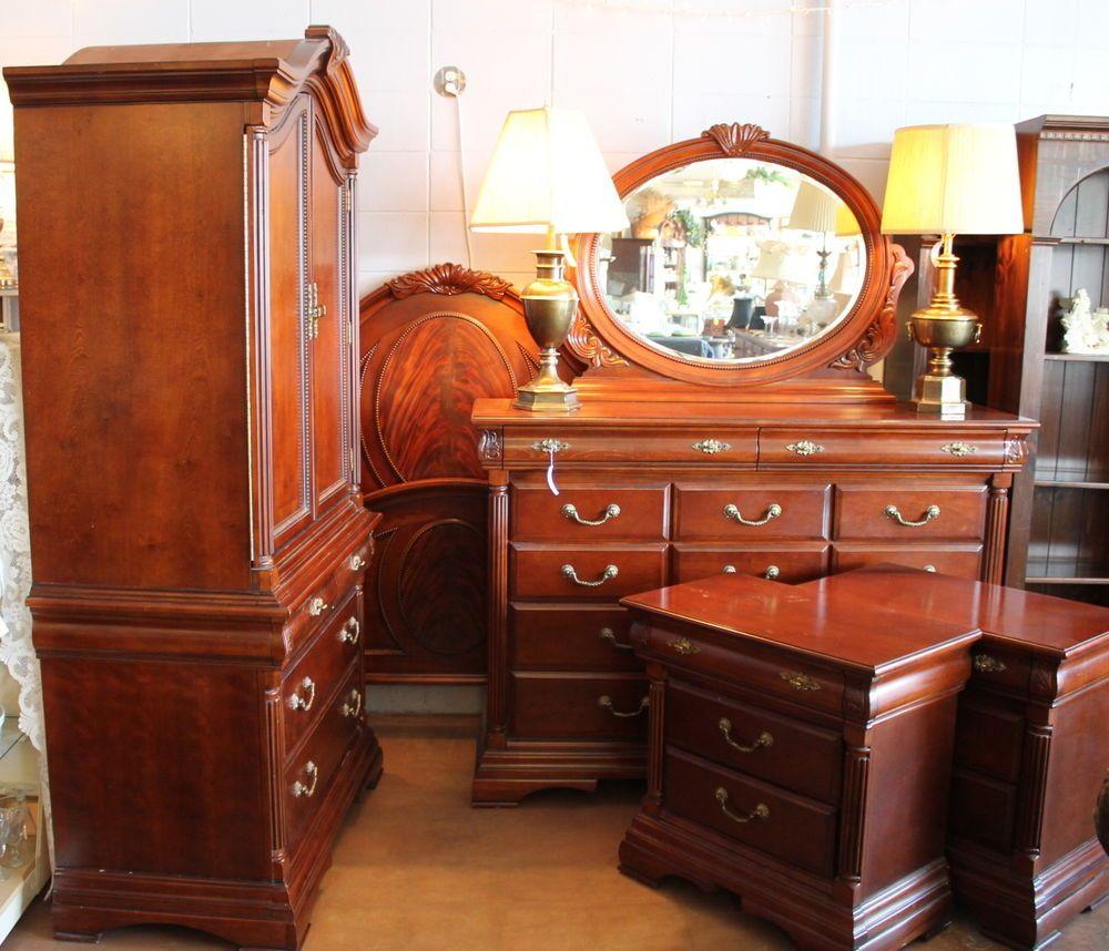 """""""Victoria"""" 5pc queen bedroom set dark cherry v.fine"""