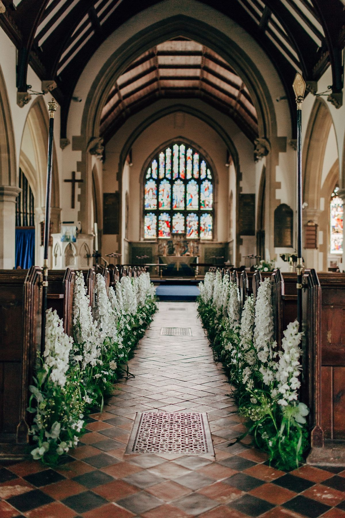 church wedding #wedding White delphinium flower aisle decor. Photography by Rob Power