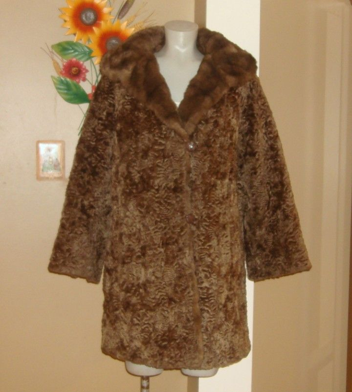Vintage Brown Faux PERSIAN LAMB Curly Faux Fur Coat L