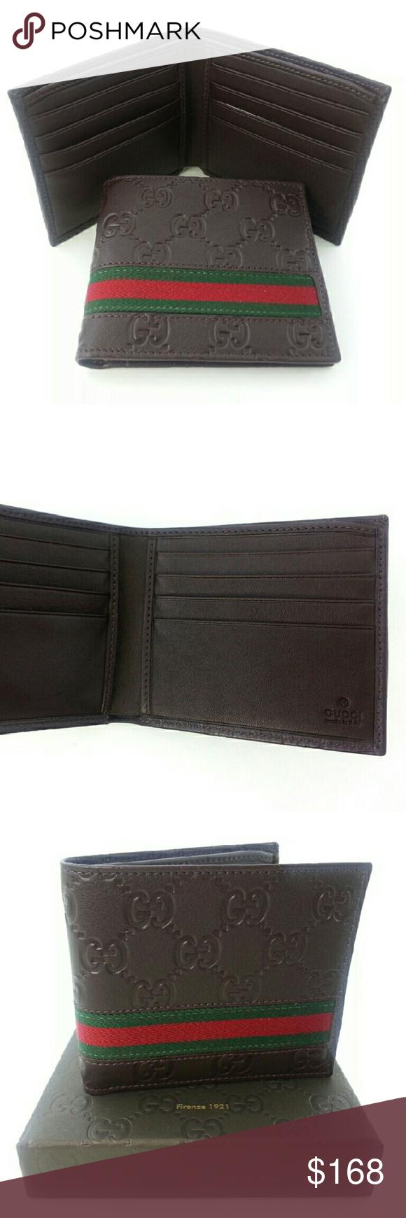 84e8561c67d9 GUCCI Authentic Mens Brown Web Strip Wallet W02 GUCCI Original Authentic  Mens Brown Web Strip Bi