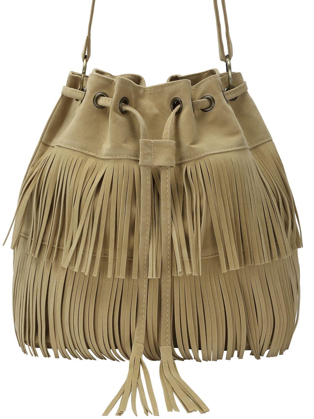 d39f0a9528d Khaki Fringe Eyelet Bag With Drawstring - Bag With Drawstring De Color  Caqui