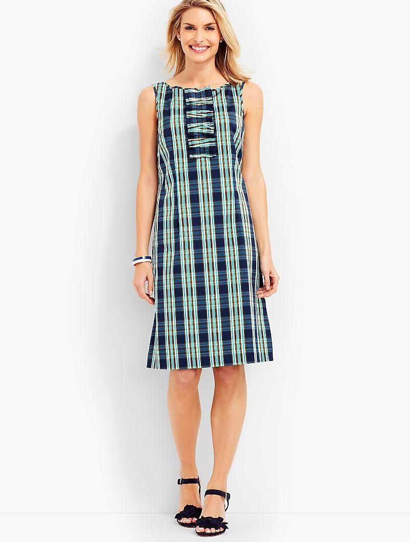Ruffled Shift Dress Coastal Plaid Talbots Stylish Dresses Beautiful Dresses For Women Style [ 1057 x 800 Pixel ]