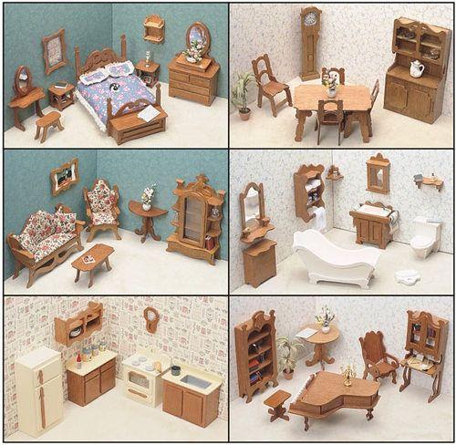 DOLLHOUSE FURNITURE KIT SET WOOD 6 SIX ROOMS DINING BATHROOM BEDROOM KITCHEN NEW