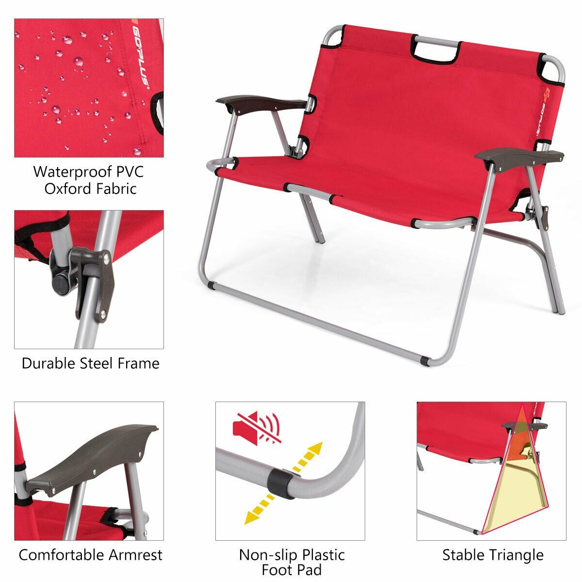2 Person Folding Camping Bench Portable Double Chair Outdoor Chairs Camping Chairs Folding Beach Chair