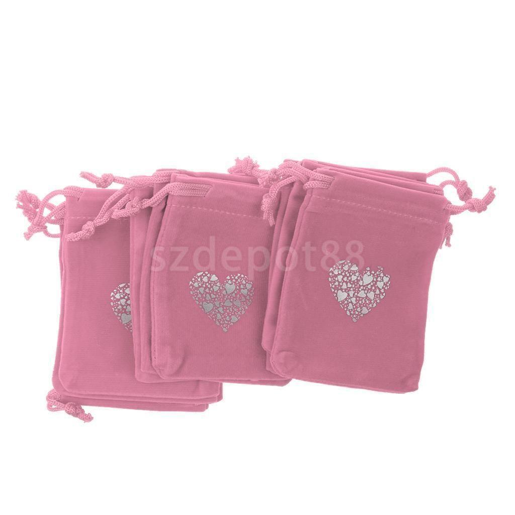 10x Heart Wedding Favor Candy Jewelry Velvet Pouch Bag Drawstring ...