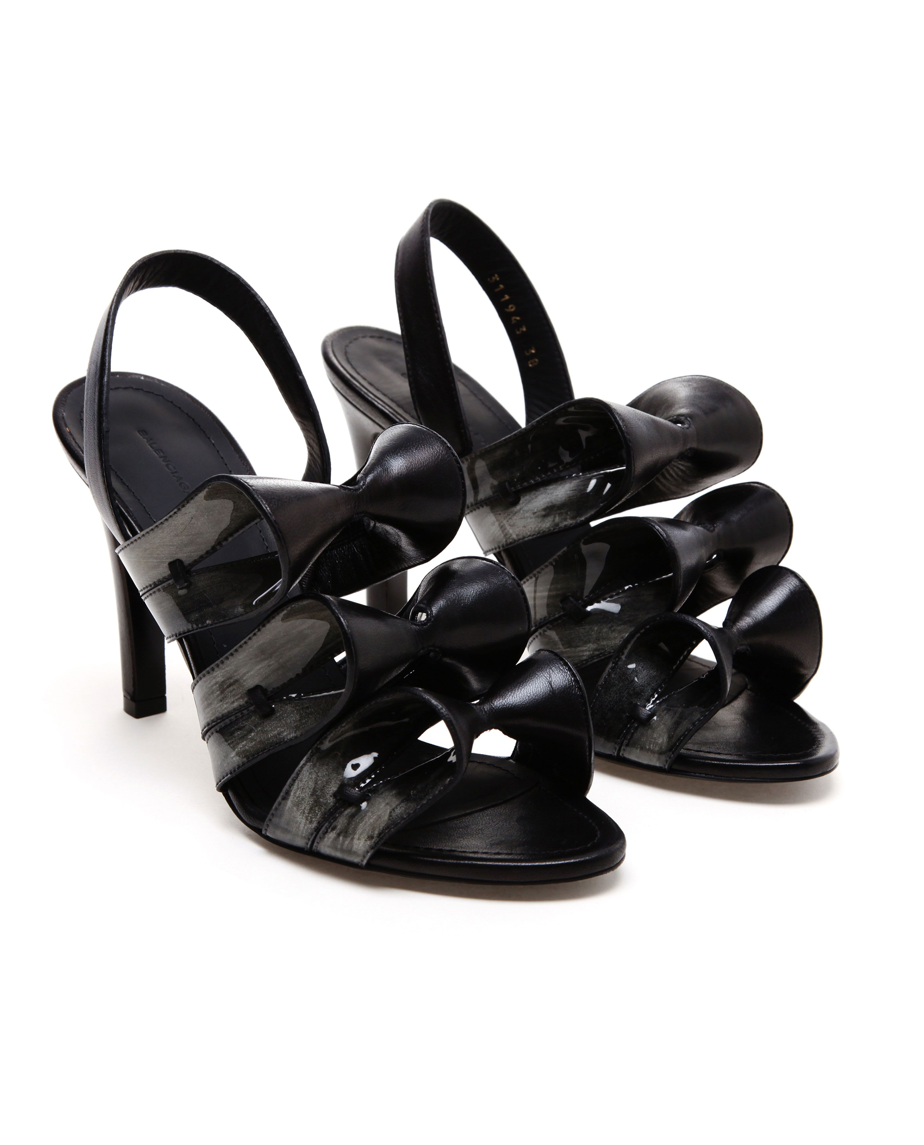 BALENCIAGA Contrasting Leather Bow Sandals