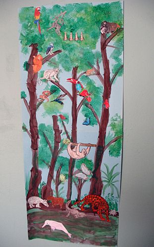 Rainforest mural art project school rain forest for Arts and crafts mural