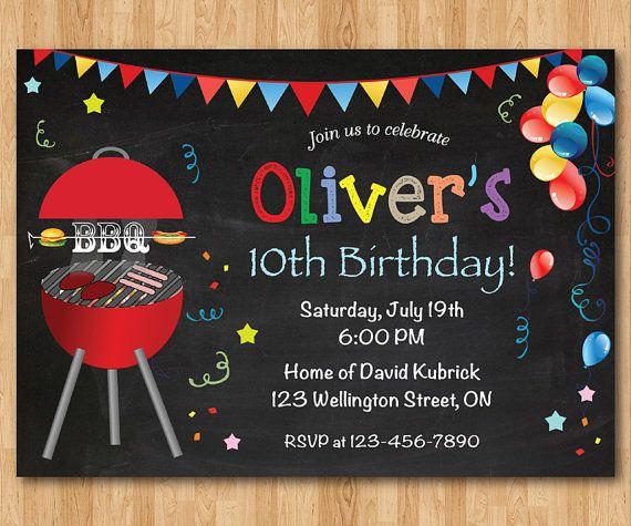 bbq birthday invitation kids chalkboard bbq barbecue birthday