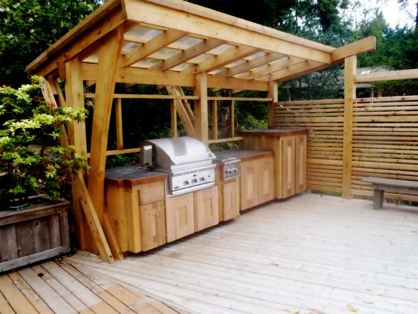 Ideas Outdoor Kitchen Ideas Rustic Outdoor Kitchen Designs Solid Wooden Pergola Solid Varnished Kitchen Island With Wood Top Stainless Steel Gas Stove Small