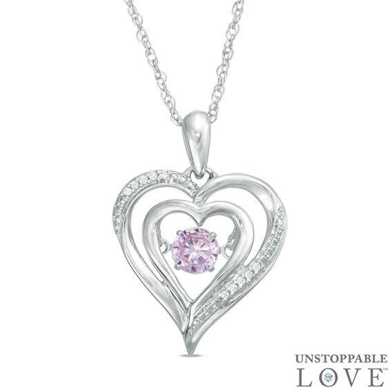 Zales Amethyst and Diamond Accent Motherly Love Heart Pendant in Sterling Silver uZJPyksaI