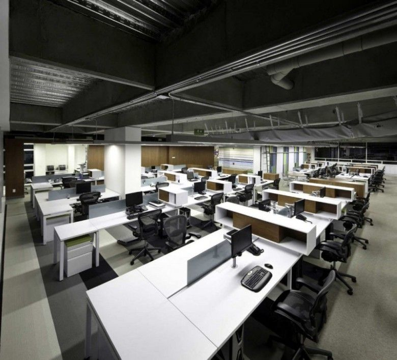 modern open plan interior office space. LEED CI / Architecture And Interior Office Design Ideas Modern Open Plan Space N
