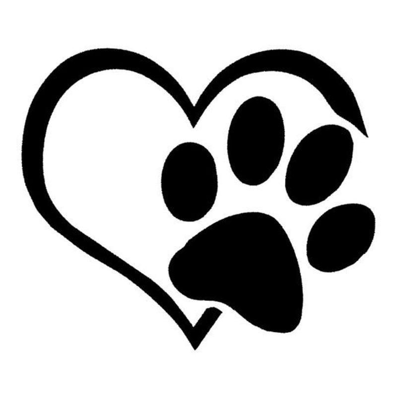 Dog Paw Heart Vinyl Sticker Decal Decorative Etsy Paw Heart Paw Tattoo Dog Paws