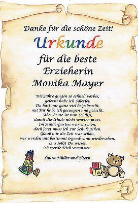 Urkunde Abschied Kindergarten Erzieherin Danksagung Personliches