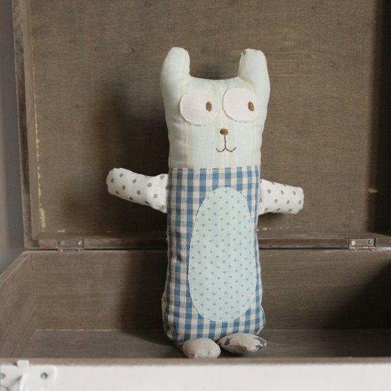 Softie bear blue check by roxycreations on Etsy